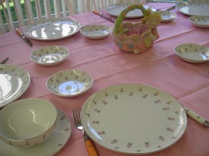 Easter table looking pink and pristine
